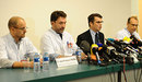 Neurosurgeons and staff members of the Centre Hospitalier Universitaire hospital of Grenoble give a press conference
