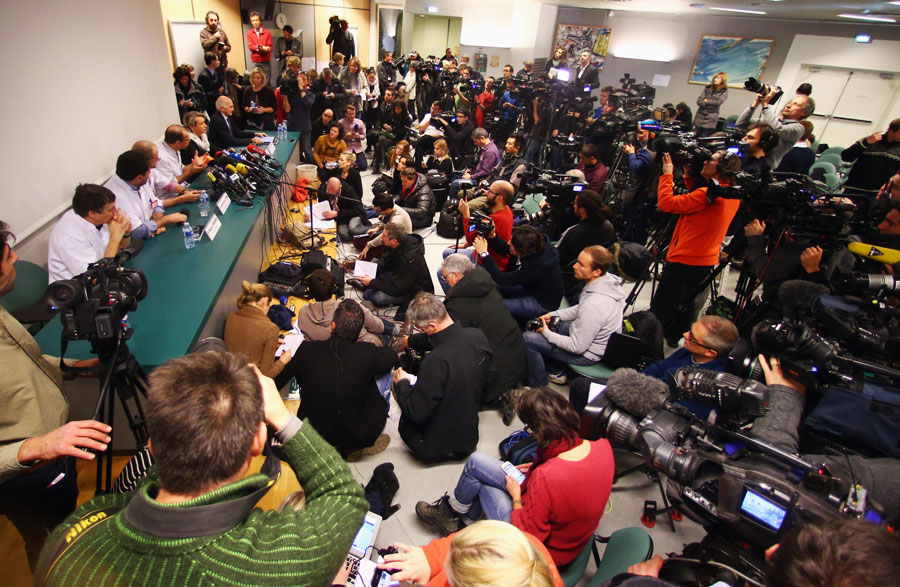 Press pack out a room of the Centre Hospitalier Universitaire for an update from doctors treating Michael Schumacher