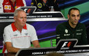 John Booth alongside Cyril Abiteboul in the FIA press conference