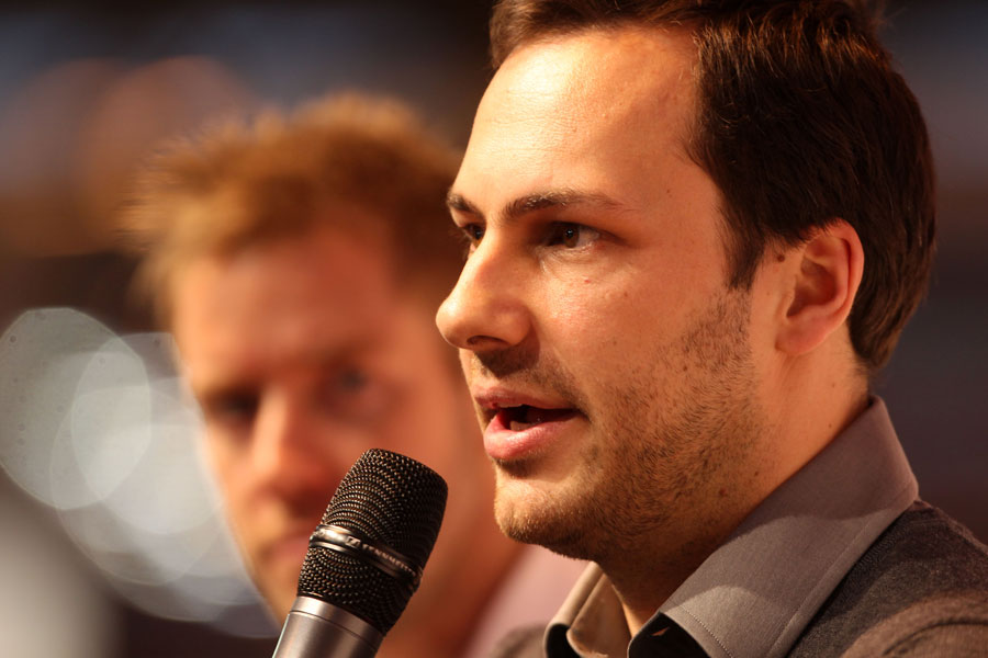Gary Paffett answers questions at the Autosport International Show