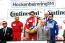 Niki Lauda, Alain Prost and Derek Warwick on the podium