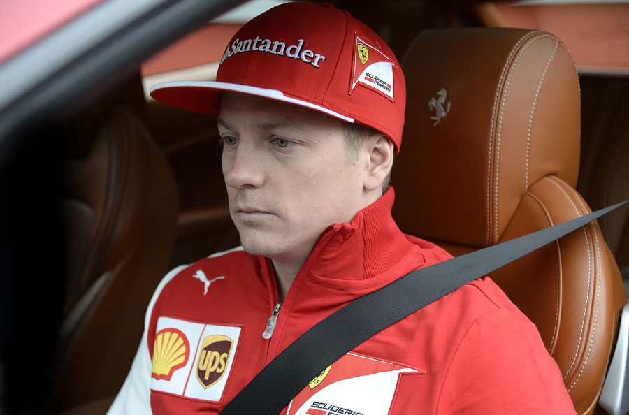 Kimi Raikkonen at the wheel of a Ferrari FF