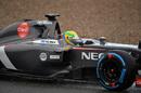 Esteban Gutierrez takes the Sauber through the wet