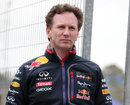Red Bull team principal Christian Horner on the pit wall