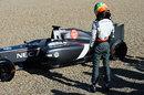 Esteban Gutierrez leaves his Sauber in the gravel