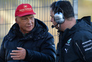 Niki Lauda talking to Mercedes AMG F1 Team Manager Ron Meadows