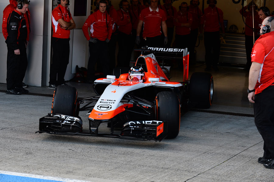 The new Marussia MR03 leaves the pits with Max Chilton at the wheel