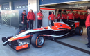 The first glimpse of the 2014 Marussia as Max Chilton takes to the track