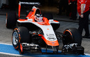 Max Chilton rolls out the Marussia MR03 for its first run
