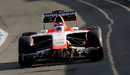 Jules Bianchi heads out on his first day in the new Marussia