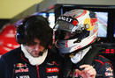 Daniil Kvyat gives feedback to race engineer Marco Matassa