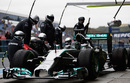 Nico Rosberg pulls away from a pit stop