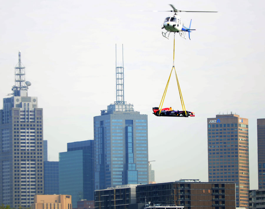 A Red Bull F1 car arrives at Albert Park by helicopter to promote this year's Australian Grand Prix