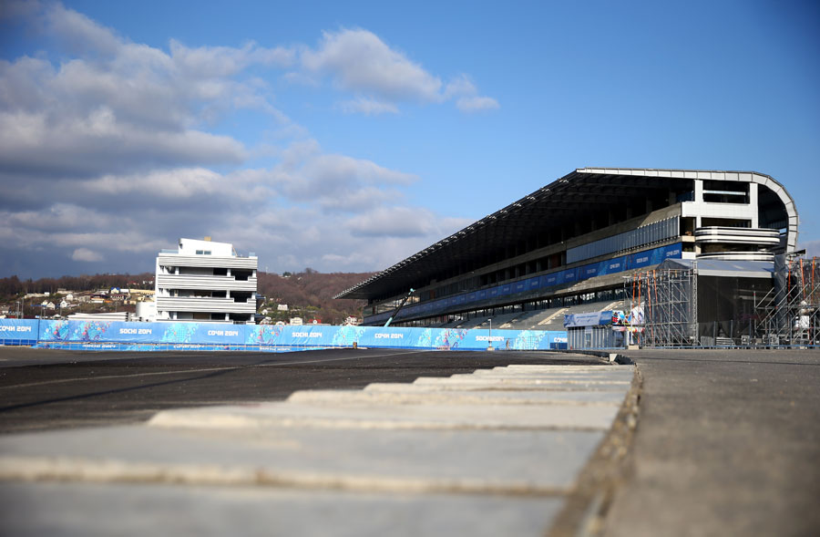 A view of the main grandstand being constructed for the Russian Grand Prix