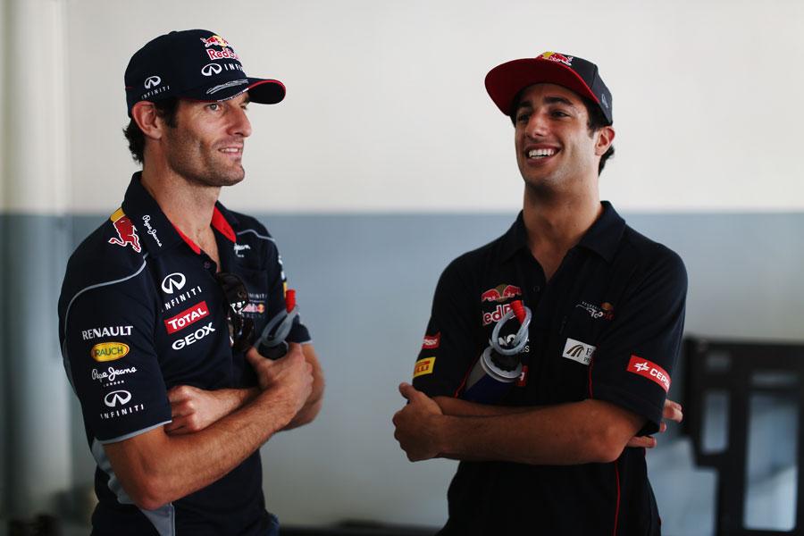 Mark Webber and Daniel Ricciardo ahead of the drivers' parade