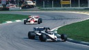 Nelson Piquet's Brabham leads Alain Prost, but both experienced mixed fortunes