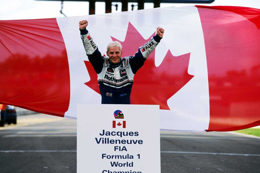 Jacques Villeneuve celebrates winning the 1997 drivers' world title