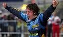 Fernando Alonso celebrates becoming the youngest ever world champion