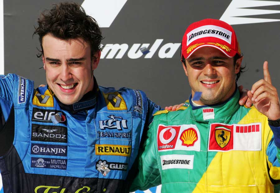 Fernando Alonso and Felipe Massa on the podium in Brazil