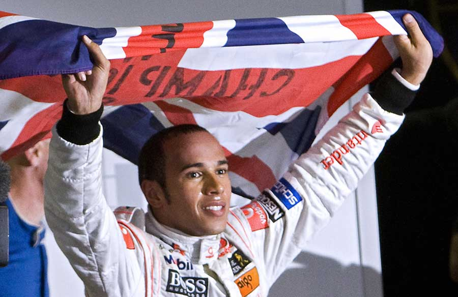 Lewis Hamilton celebrates becoming the sport's youngest ever world champion