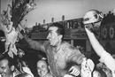 Alberto Ascari celebrates winning the Italian Grand Prix