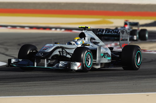 Nico Rosberg leads Michael Schumacher in Bahrain