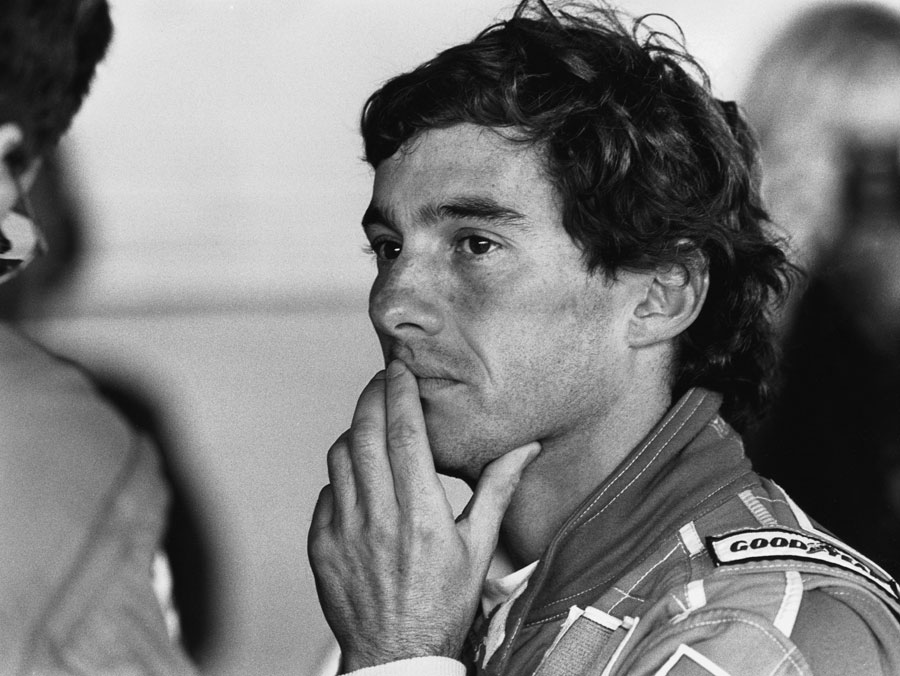 Ayrton Senna in the garage