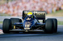 Ayrton Senna drives the John Player Special Lotus-Renault 98T