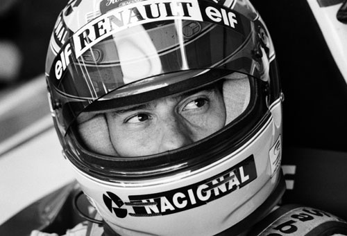 Ayrton Senna in his car ahead of practice