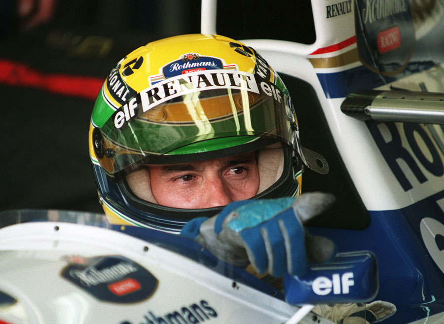 Ayrton Senna in his cockpit  before the race
