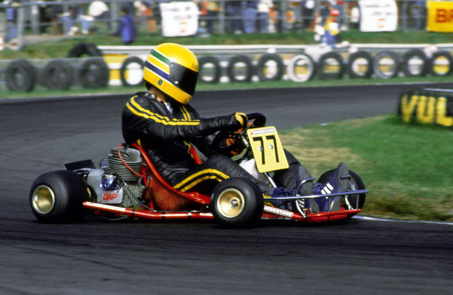 Ayrton Senna at the World Karting Championship in Sweden in 1980