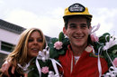 Ayrton Senna with his wife Liliane celebrate victory