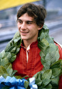 Ayrton Senna with his winner's garland