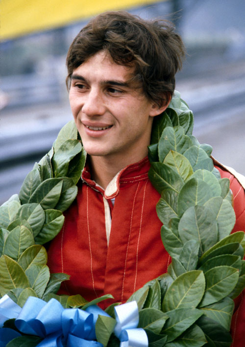 Ayrton Senna with his winner's garland