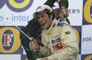 Bruno Senna celebrates winning the Formula 3 support event to the Australian Grand Prix