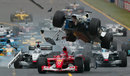 The first lap crash - Ralf Schumacher goes airborne
