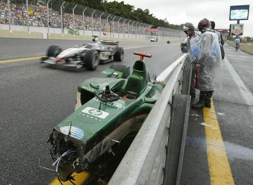 Mark Webber's damaged Jaguar at the Brazilian Grand Prix