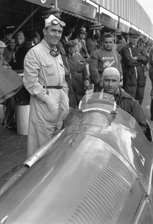 Juan Fangio and Giuseppe Farina at the International Trophy race at Silverstone