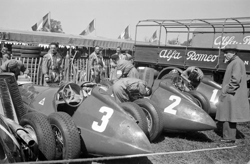 The Alfa cars of Luigi Fagioli, Nino Farina and Juan Manuel Fangio