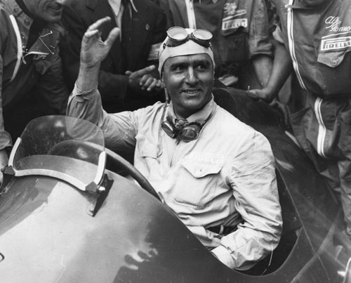 Nino Farina celebrates victory at the International Trophy race