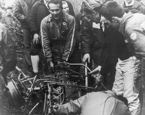The wreckage of Jim Clark's car after his fatal accident at Hockenheim