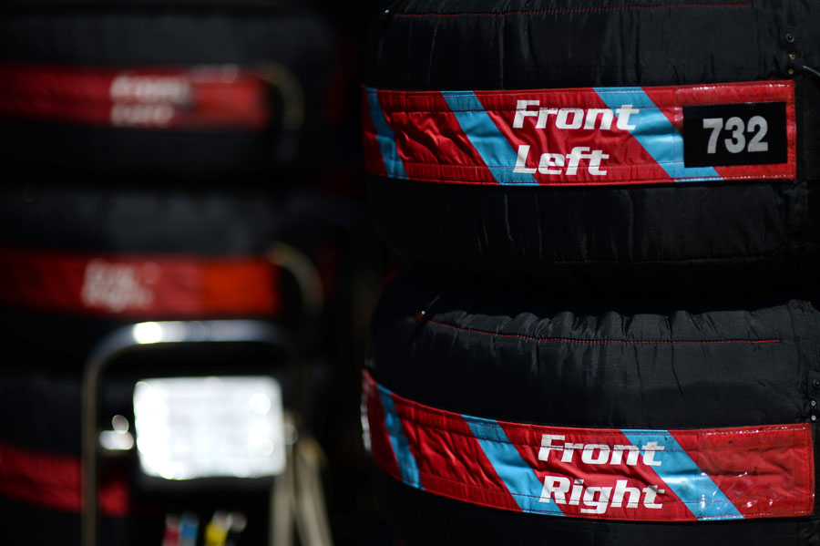 Tyres in blankets in the paddock