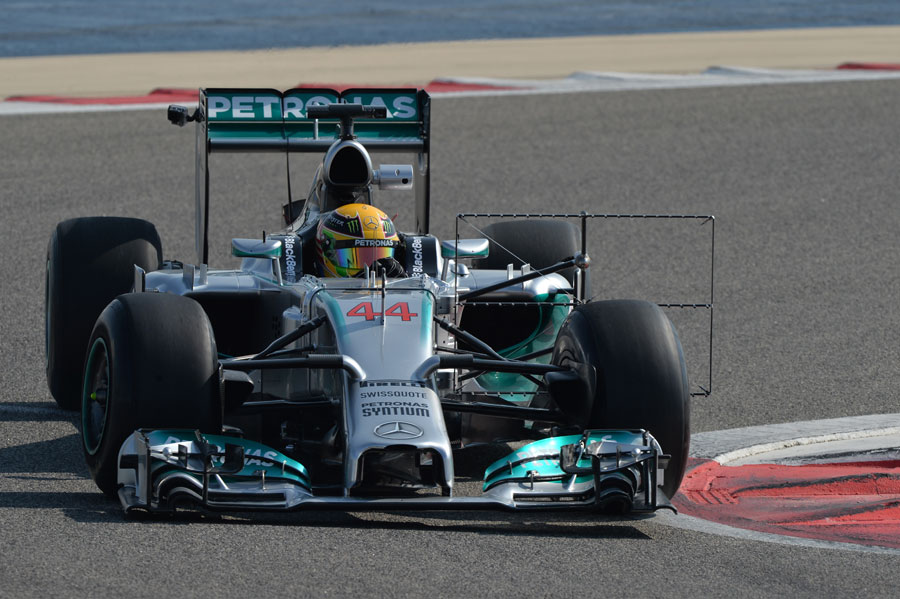 Lewis Hamilton in the Mercedes with an aero measuring device attached