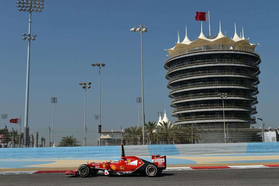 Fernando Alonso on track in the Ferrari