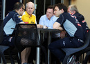 Christian Horner in a meeting with Renault's Jean-Michel Jalinier and other Red Bull team members