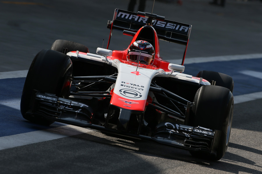 Max Chilton pulls out of the pits in the Marussia