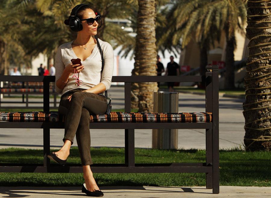 Jenson Button's girlfriend Jessica Michibata enjoys the morning sun in Bahrain