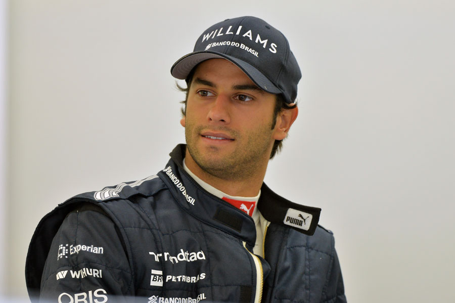 Felipe Nasr in the garage on his first day as Williams' test and reserve driver