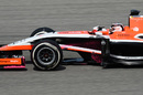 Max Chilton on track with his Marussia covered in 'flo-vis paint'