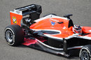 Max Chilton with his DRS open and aero paint over the rear floor area